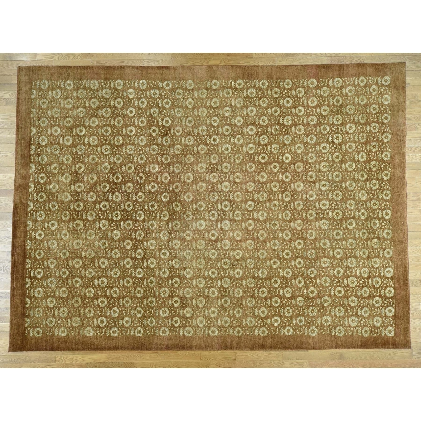 Hand Knotted Brown Modern & Contemporary with Wool Oriental Rug - 10 x 1310