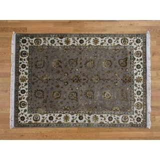 Hand Knotted Grey Rajasthan with Wool & Silk Oriental Rug - 5'1 x 7'1