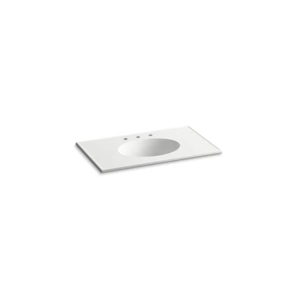 Shop Kohler Ceramic Impressions White 37 Inch Oval Vanity Top Bathroom Sink Free Shipping