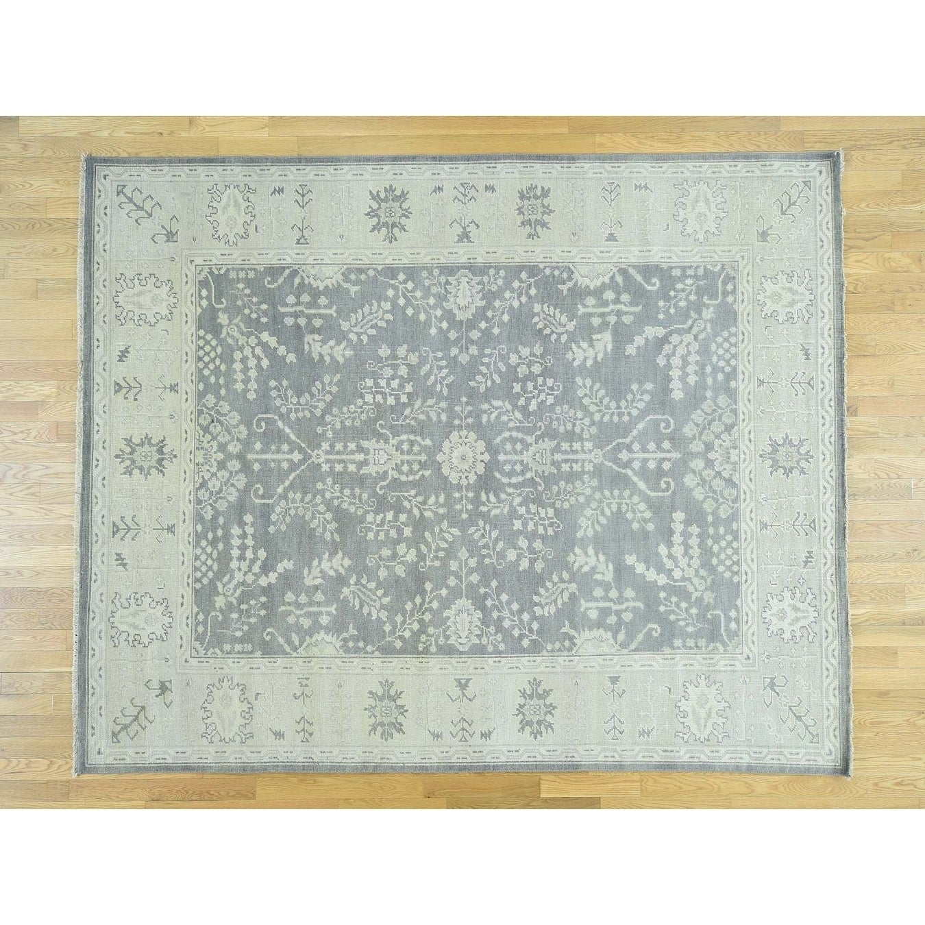 Hand Knotted Grey Oushak And Peshawar with Wool Oriental Rug - 8 x 910
