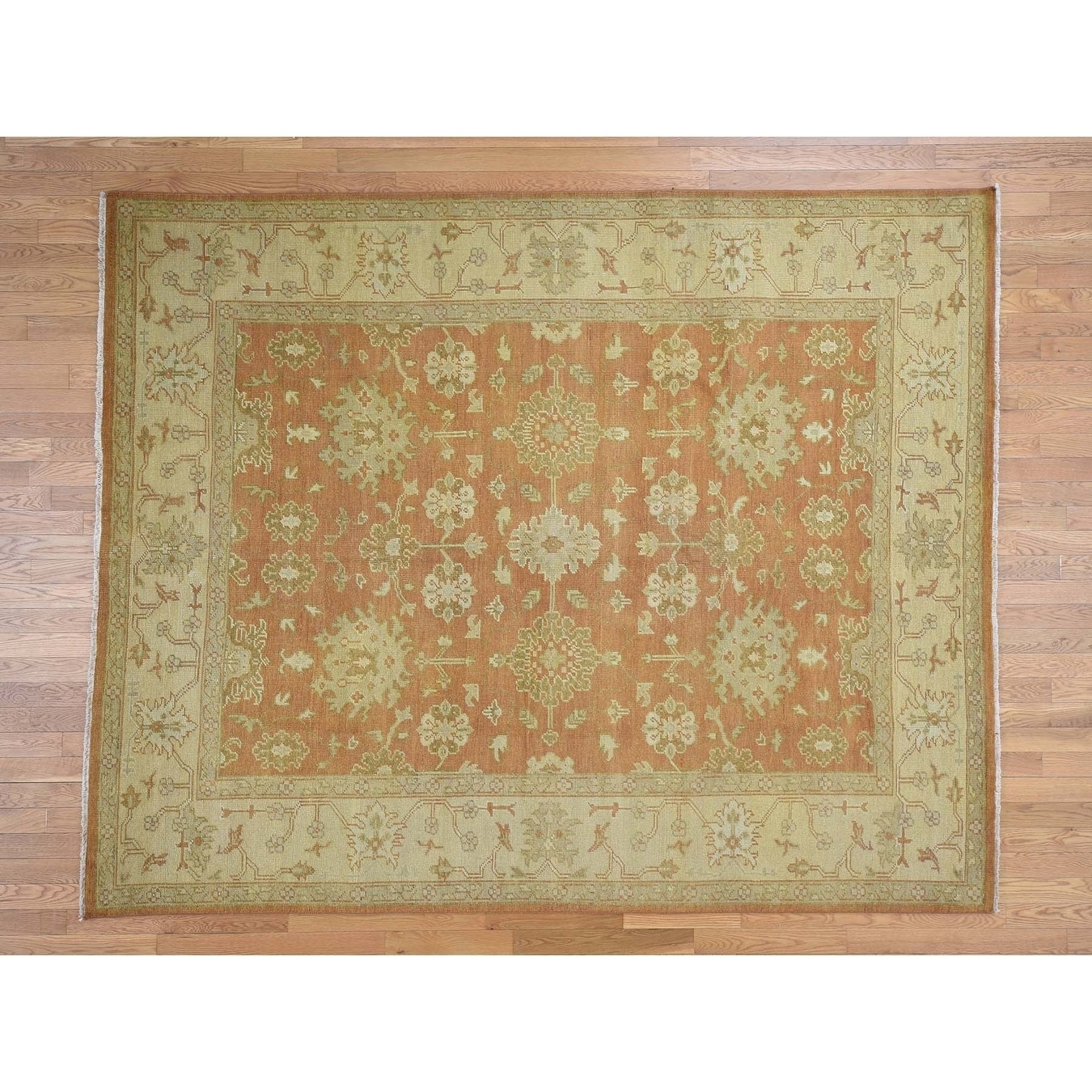Hand Knotted Orange Oushak And Peshawar with Wool Oriental Rug - 8 x 10