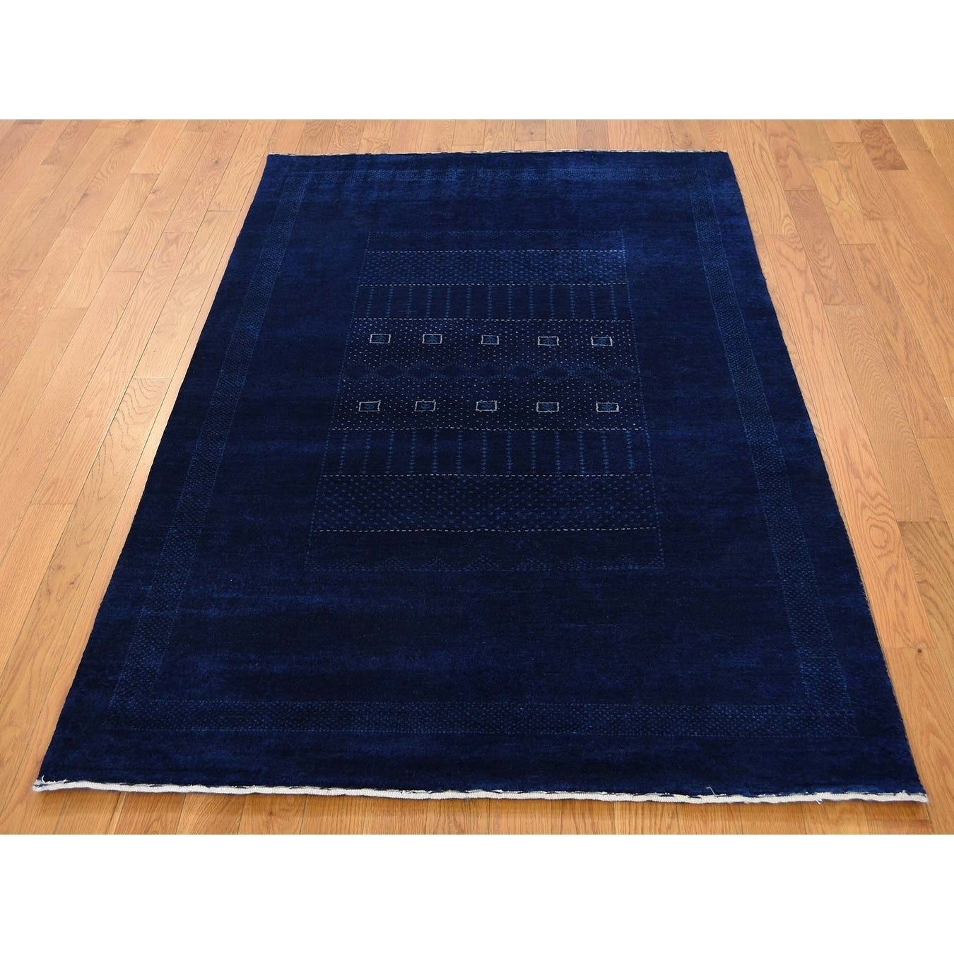 Hand Knotted Blue Modern & Contemporary with Wool Oriental Rug - 4 x 6