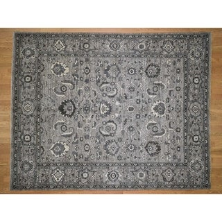 Hand Knotted Grey Oushak And Peshawar with Wool Oriental Rug - 8'1 x 10'3