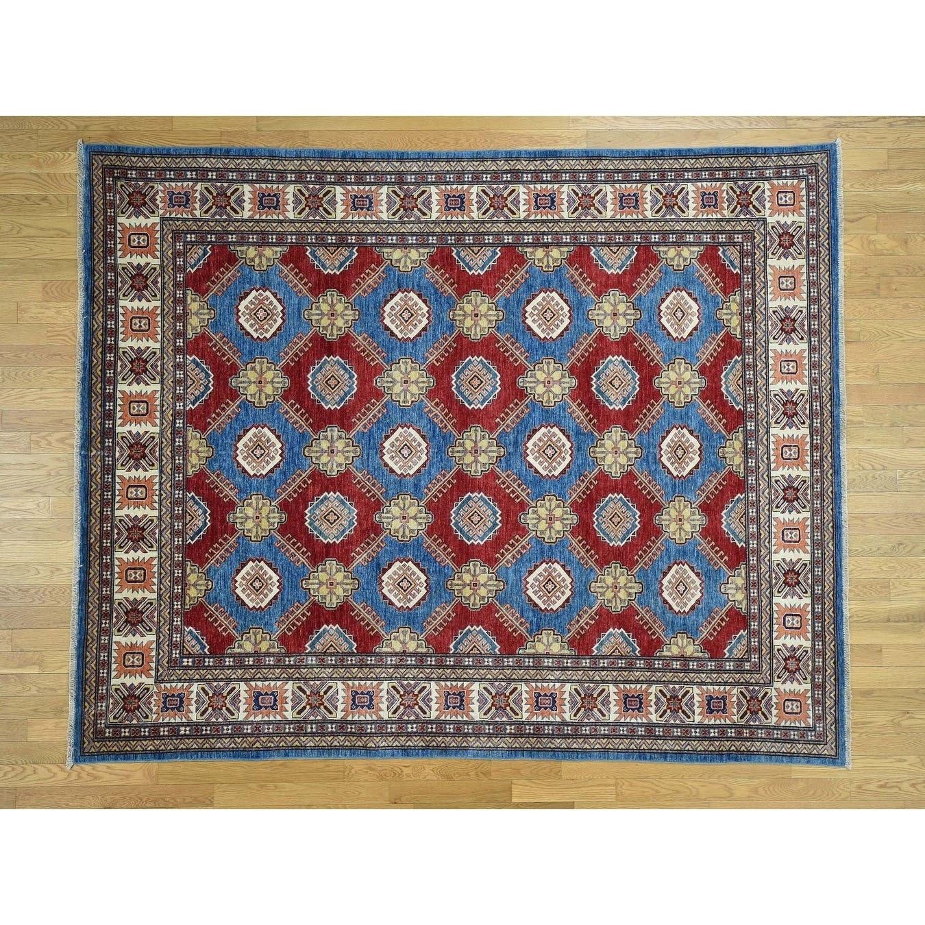 Hand Knotted Blue Kazak with Wool Oriental Rug - 710 x 97