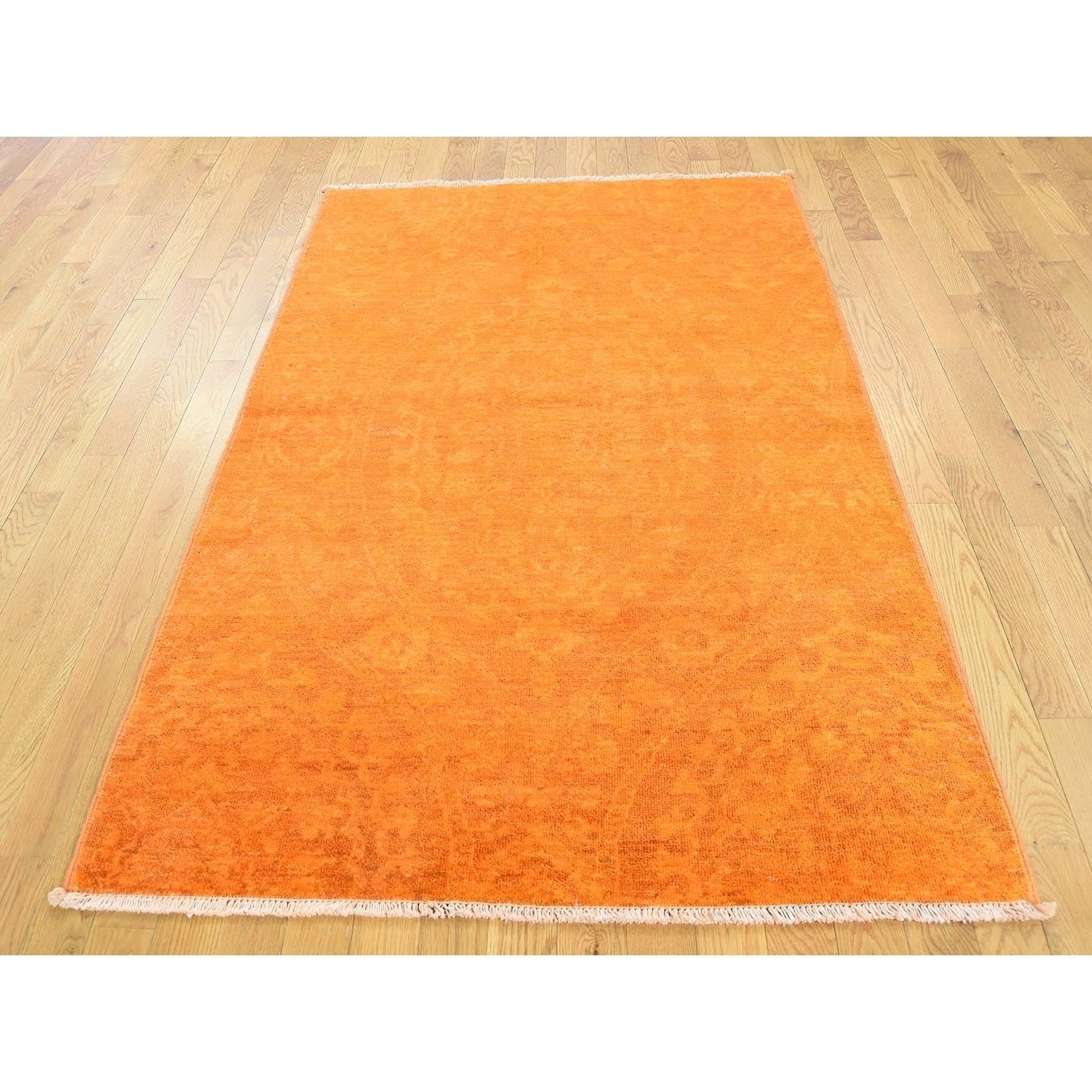 Hand Knotted Orange Oushak And Peshawar with Wool Oriental Rug - 4 x 63