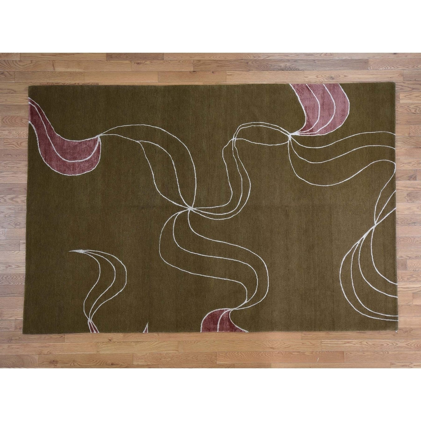Hand Knotted Brown Clearance with Wool & Silk Oriental Rug - 6 x 9