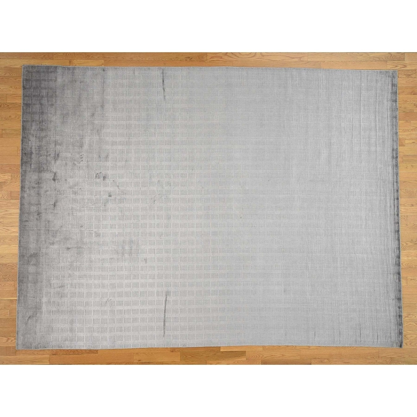 Hand Knotted Grey Modern & Contemporary with Art Silk Oriental Rug - 88 x 119