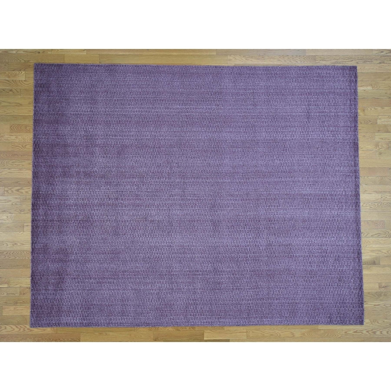 Hand Knotted Purple Modern & Contemporary with Wool Oriental Rug - 8 x 101