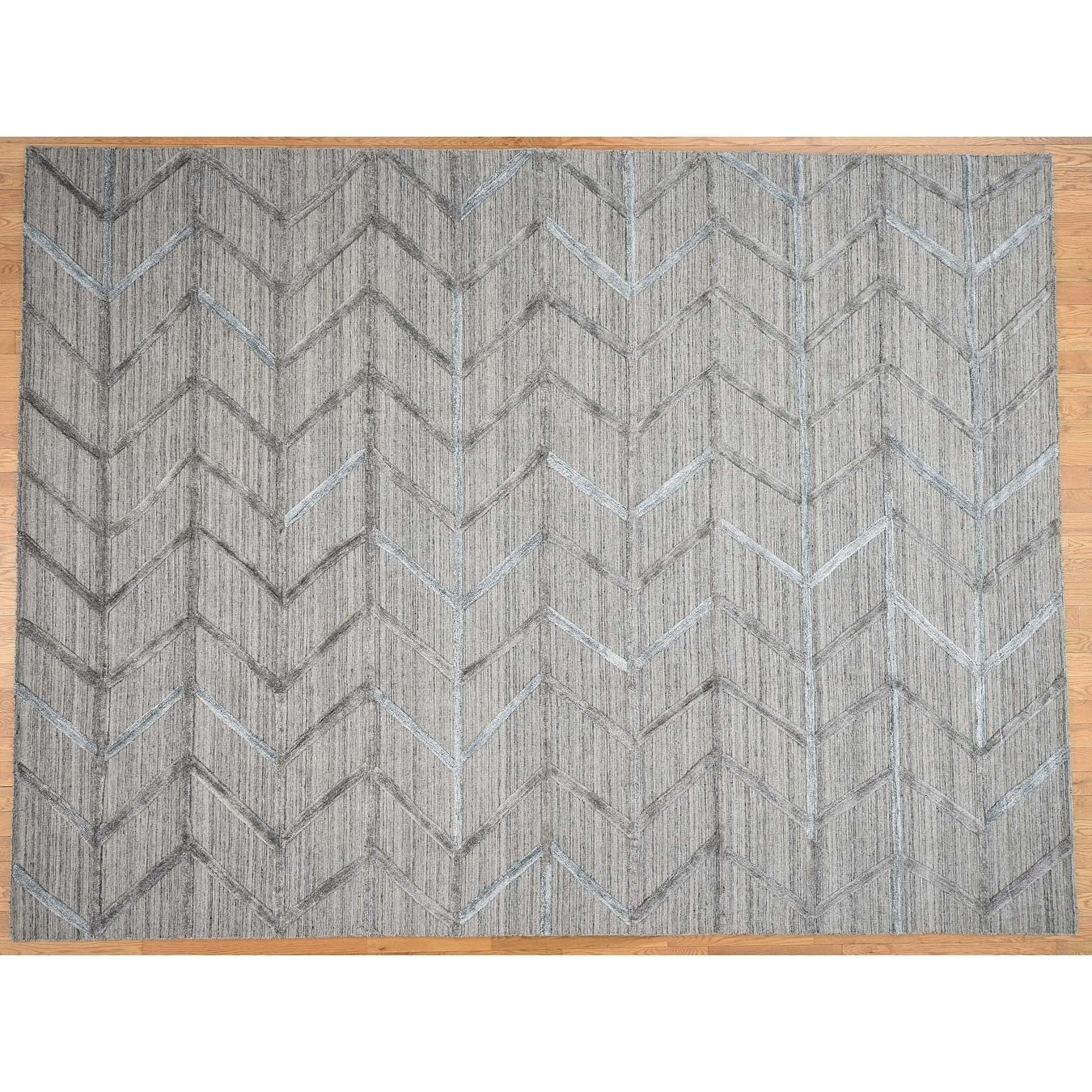 Hand Knotted Grey Modern & Contemporary with Wool & Silk Oriental Rug - 92 x 12