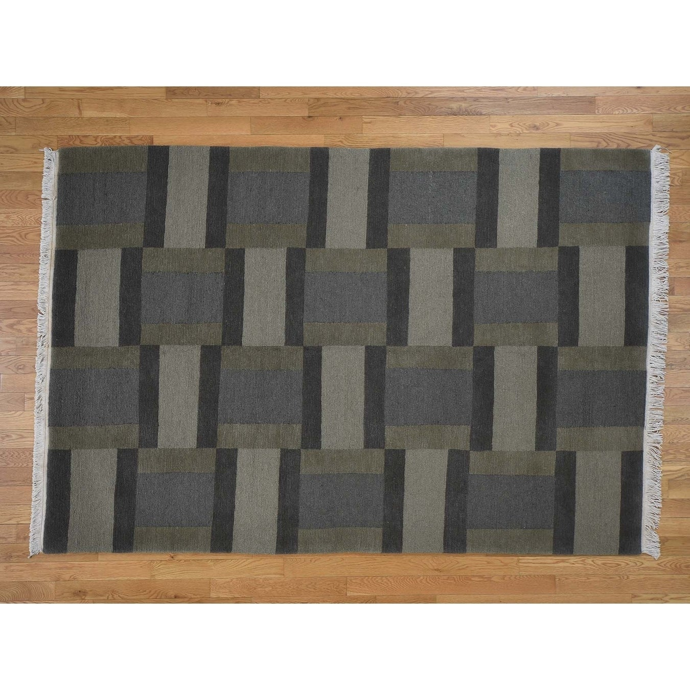 Hand Knotted Brown Clearance with Wool Oriental Rug - 6 x 810