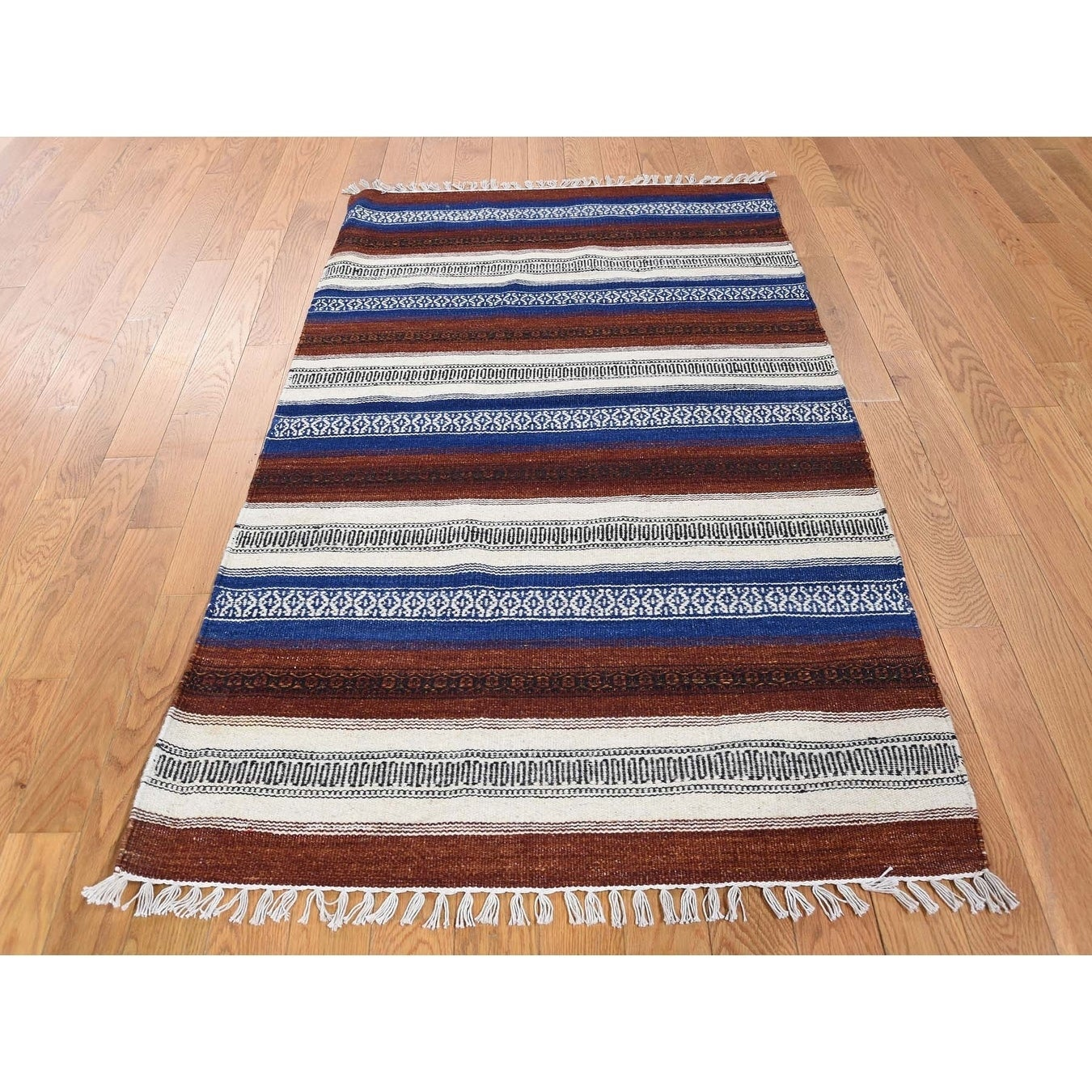 Hand Knotted Multicolored Flat Weave with Wool Oriental Rug - 3 x 52