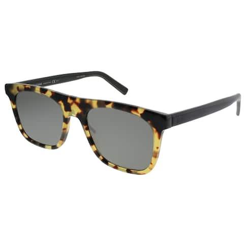 Dior Homme Rectangle Walk 581 Unisex Havana Black Frame Silver Mirror Lens Sunglasses