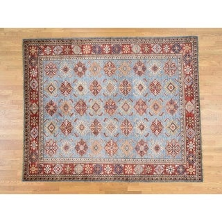 Hand Knotted Blue Kazak with Wool Oriental Rug - 8' x 9'7