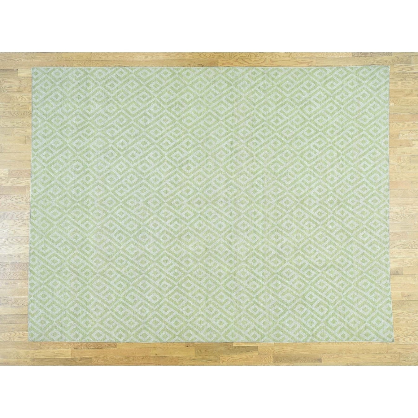 Hand Knotted Ivory Flat Weave with Wool Oriental Rug - 10 x 14