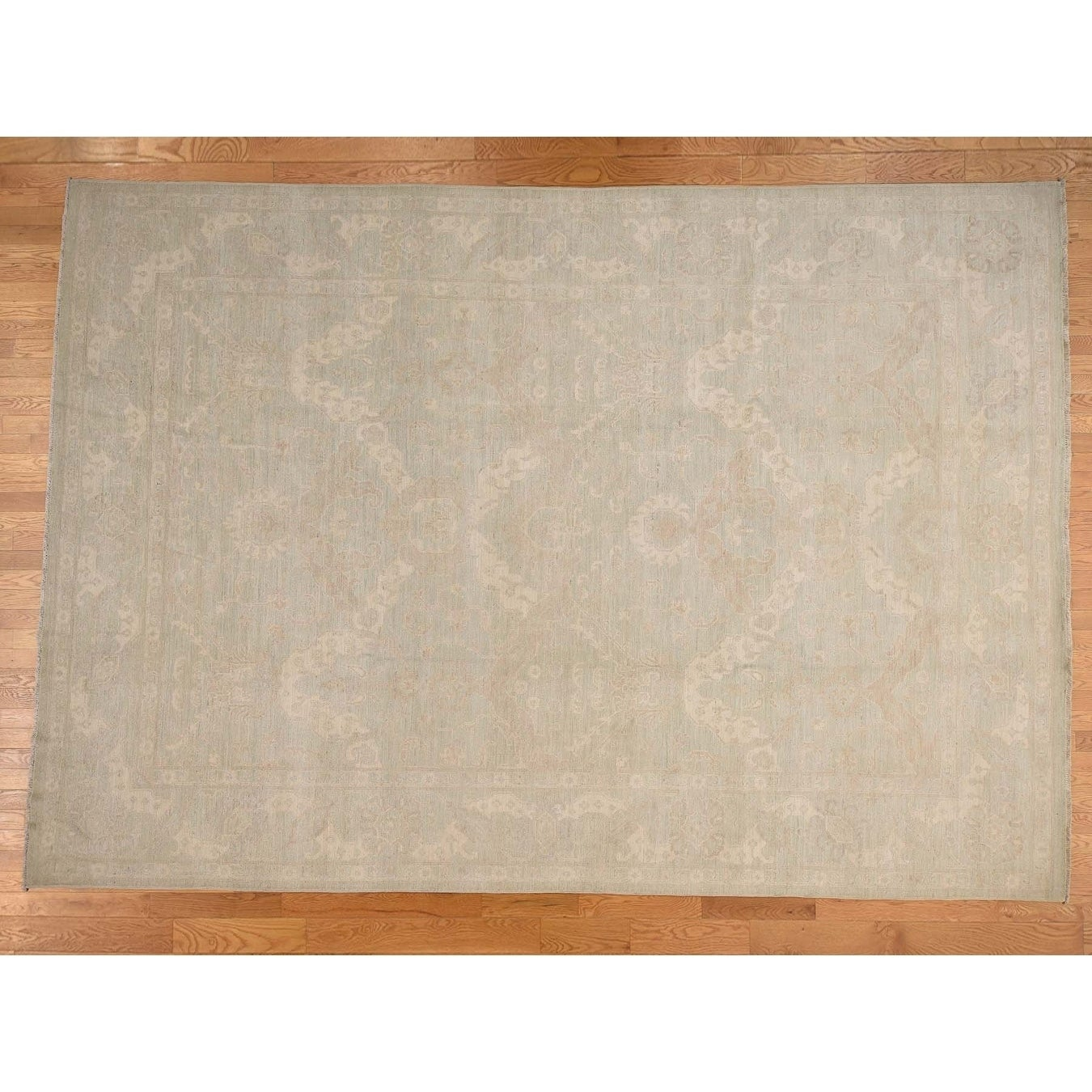 Hand Knotted Green White Wash Vintage & Silver Wash with Wool Oriental Rug