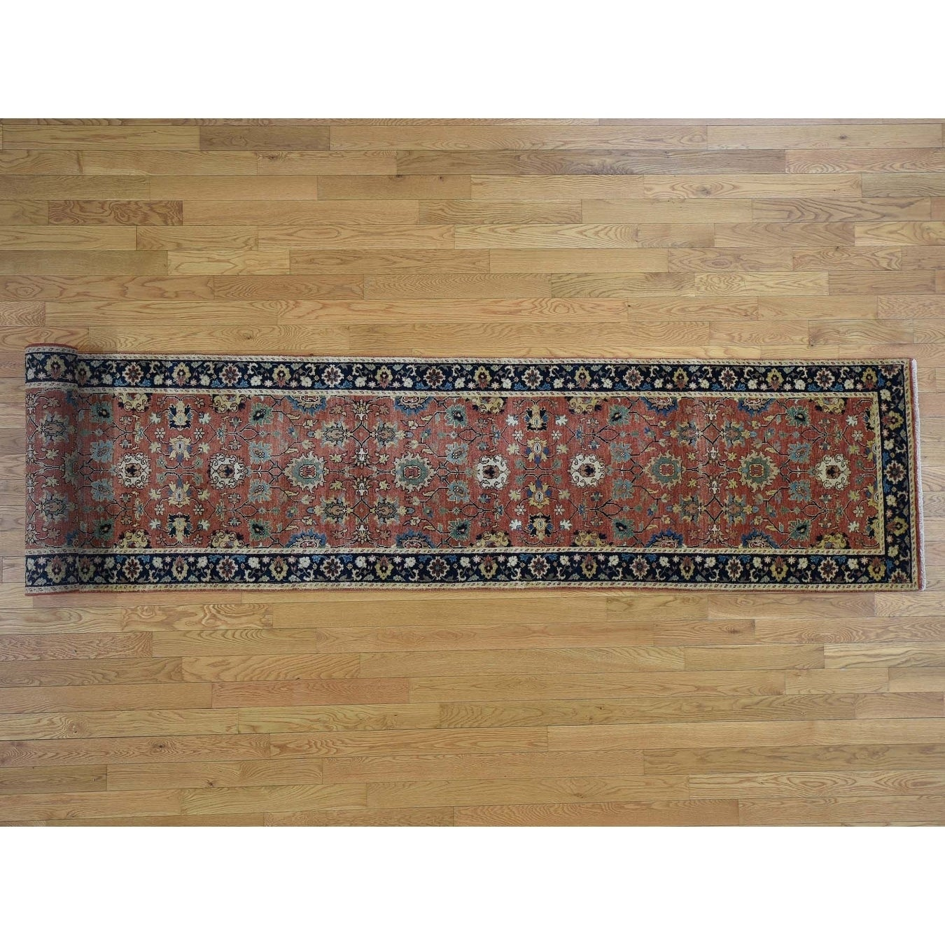 Hand Knotted Red Heriz with Wool Oriental Rug