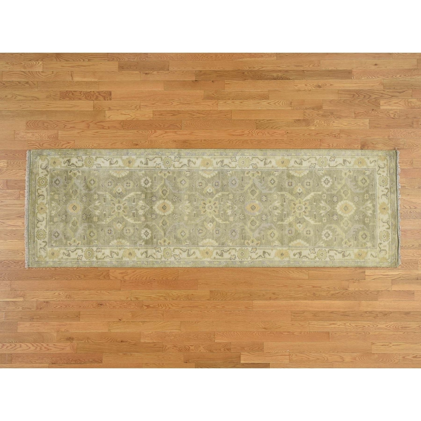 Hand Knotted Green Oushak And Peshawar with Wool Oriental Rug - 33 x 101