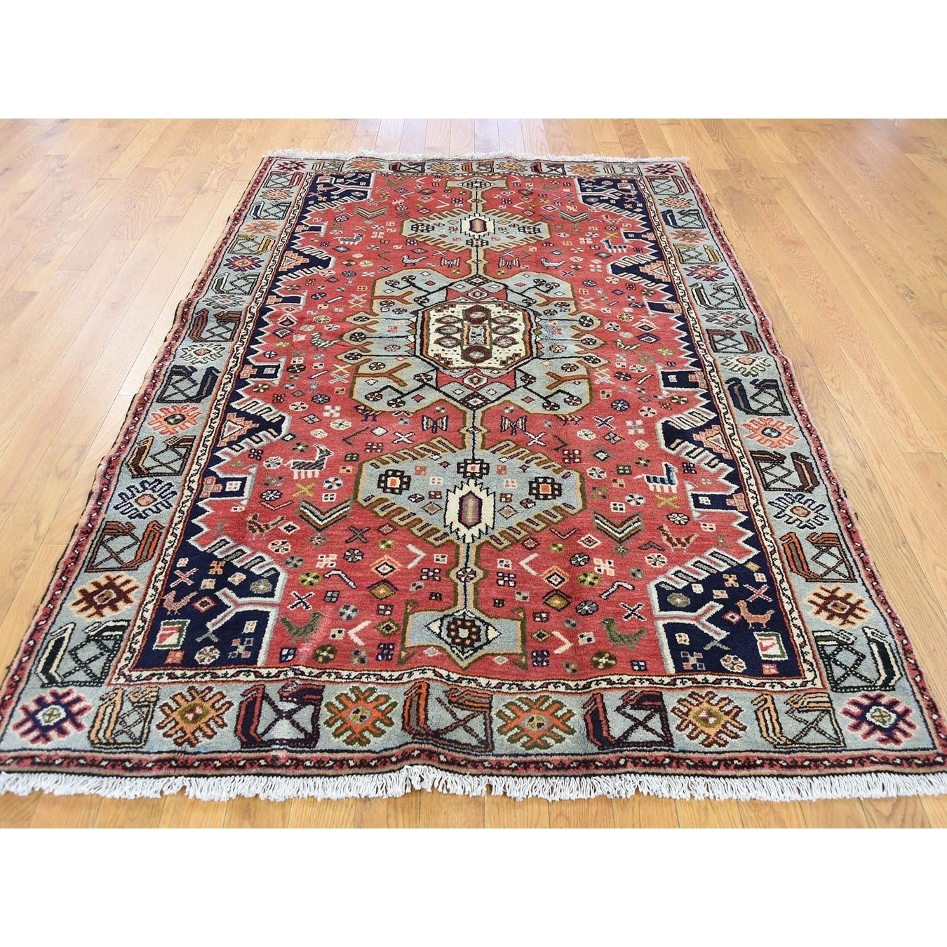 Hand Knotted Red Persian with Wool Oriental Rug - 46 x 67