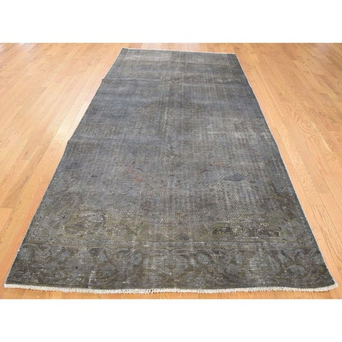 Hand Knotted Grey Overdyed & Vintage with Wool Oriental Rug - 4'10 x 9'5