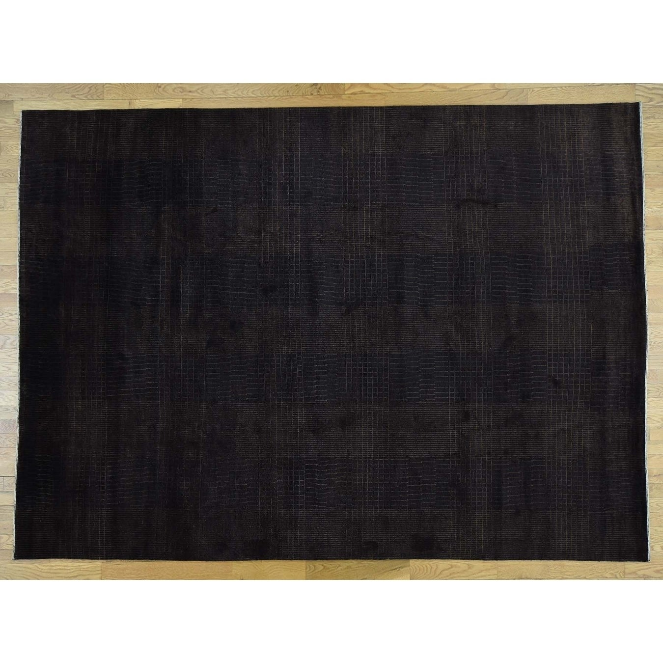 Hand Knotted Brown Clearance with Wool & Silk Oriental Rug - 81 x 10