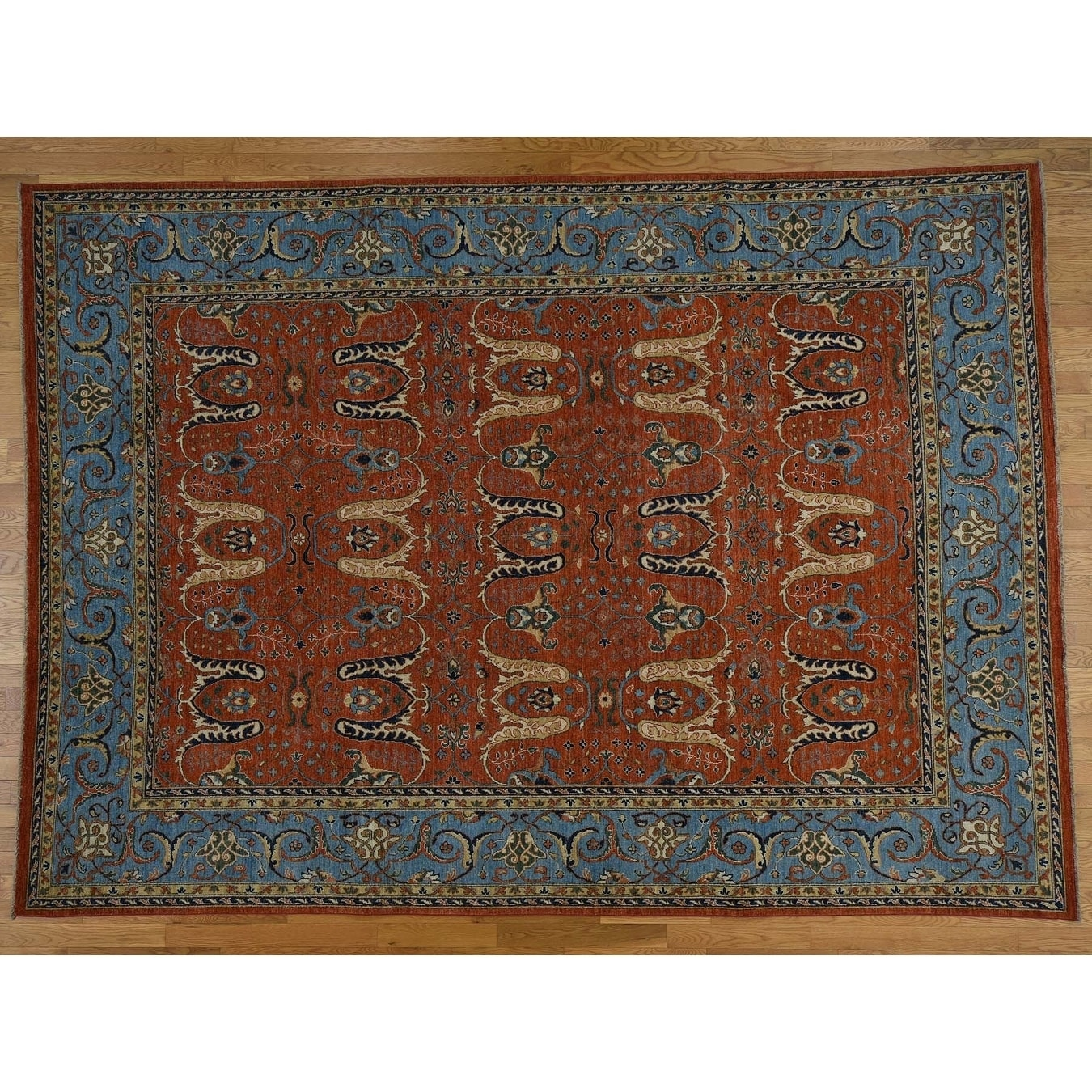 Hand Knotted Red Tribal & Geometric with Wool Oriental Rug - 9 x 125