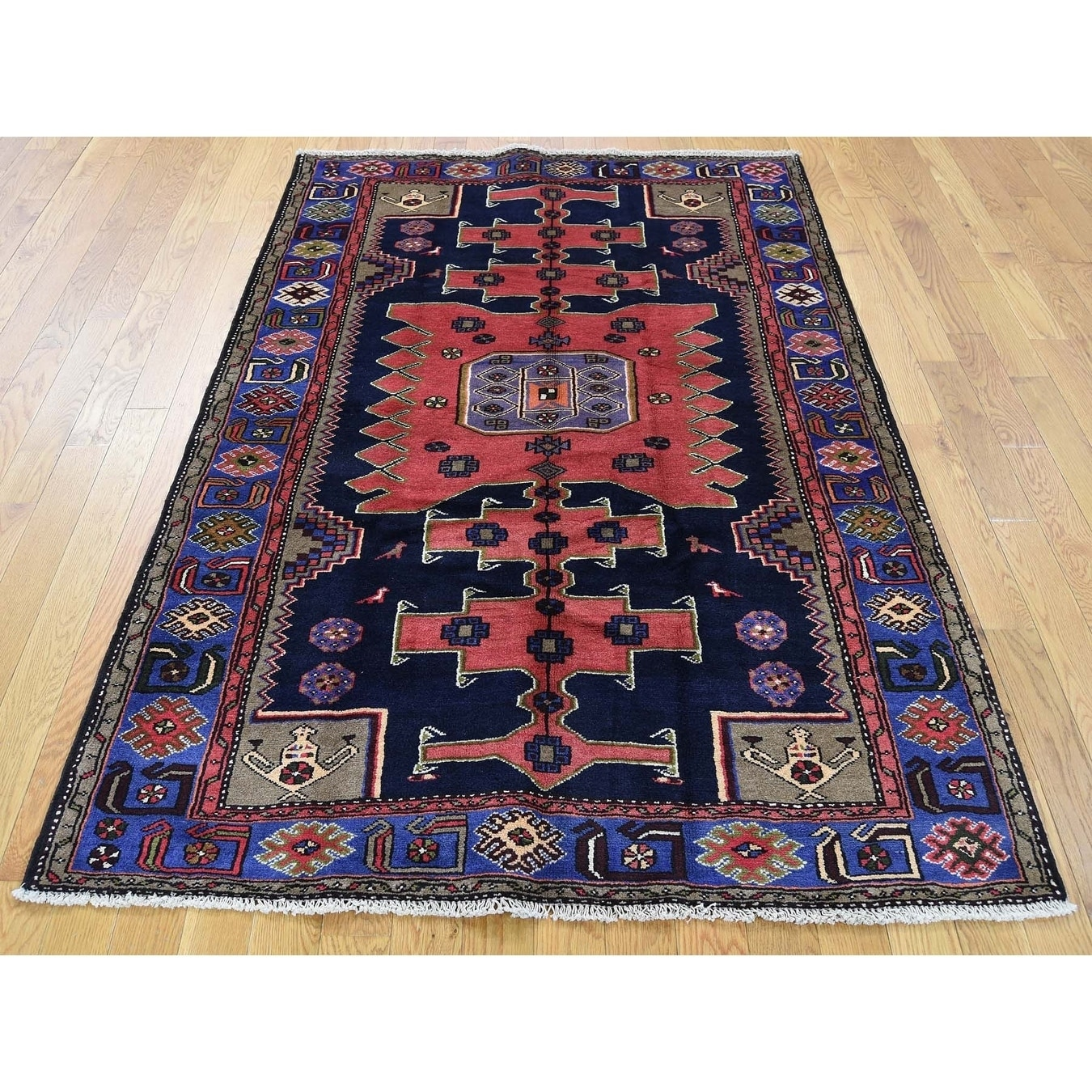 Hand Knotted Blue Persian with Wool Oriental Rug - 42 x 63