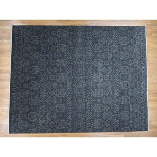 Hand Knotted Grey Rajasthan with Wool Oriental Rug