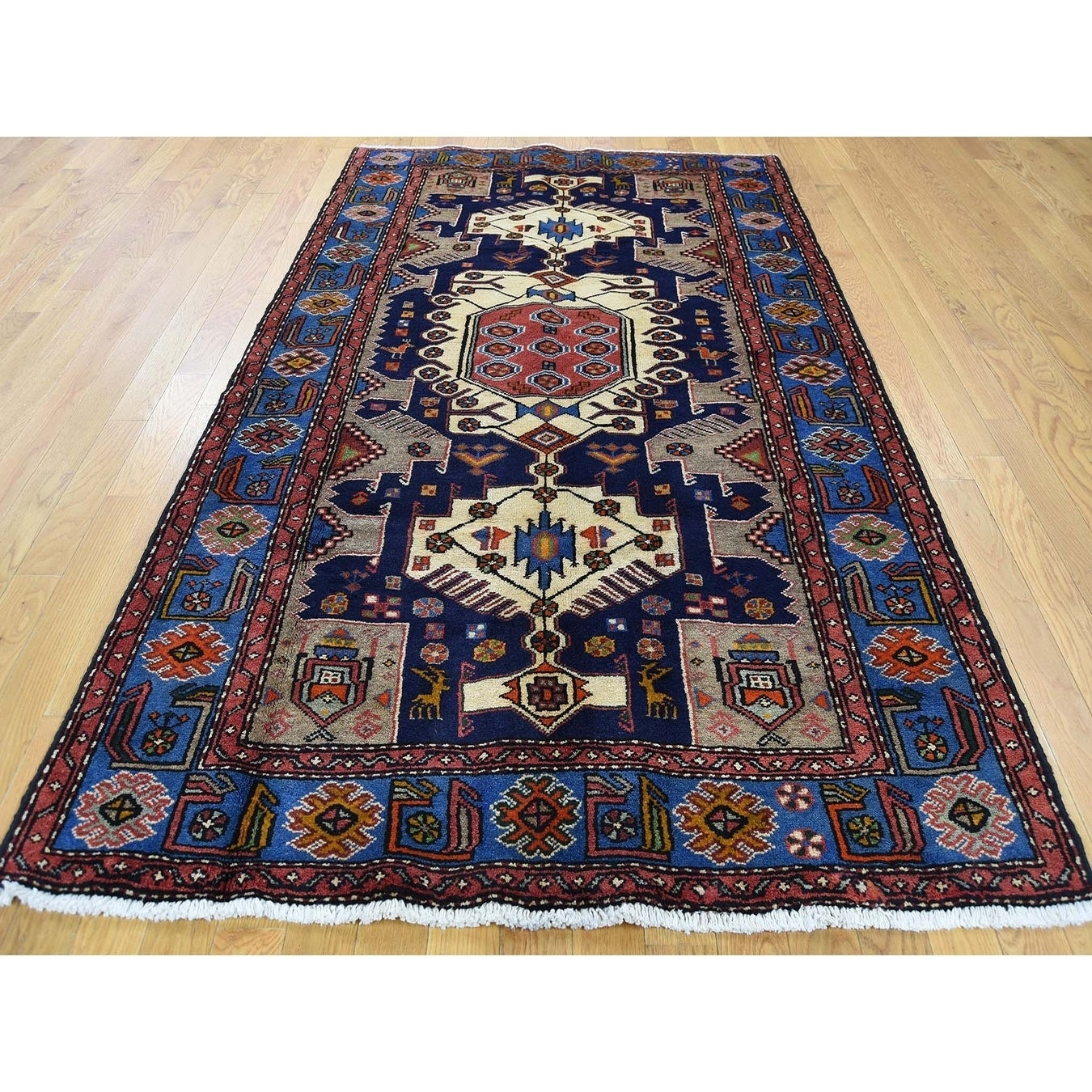 Hand Knotted Blue Persian with Wool Oriental Rug - 45 x 72