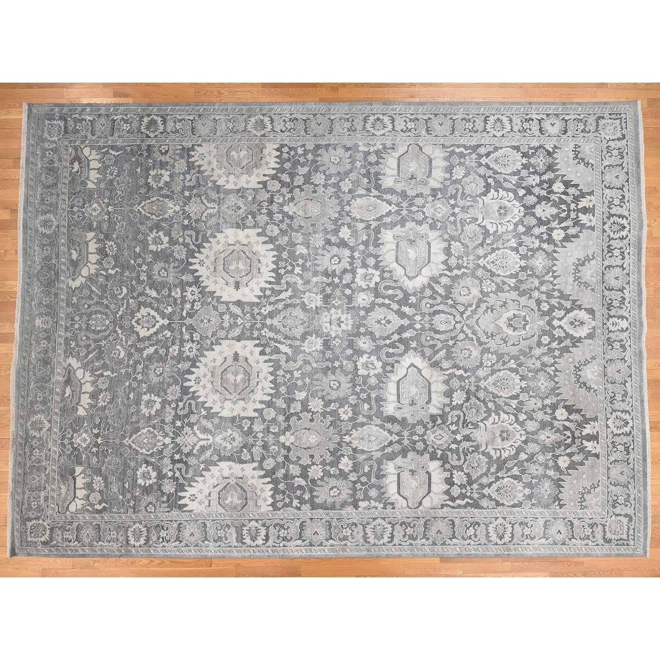 Hand Knotted Grey Oushak And Peshawar with Wool & Silk Oriental Rug