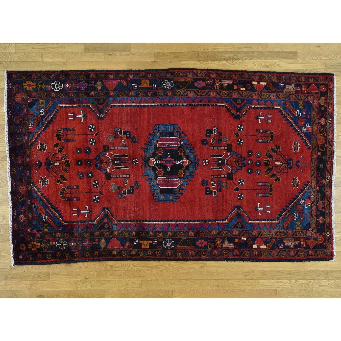 Hand Knotted Red Persian with Wool Oriental Rug - 57 x 99