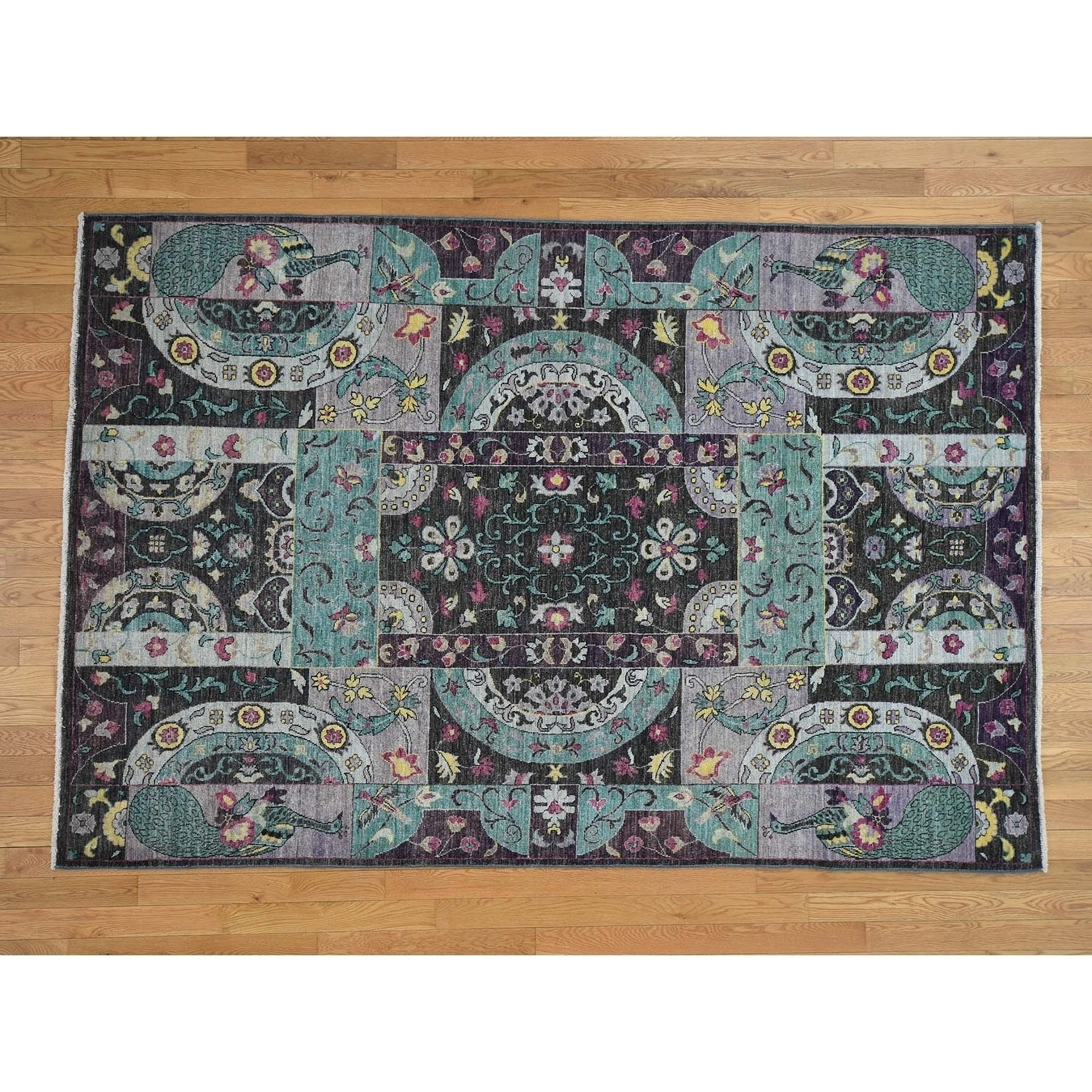 Hand Knotted Purple Oushak And Peshawar with Wool Oriental Rug - 6 x 9