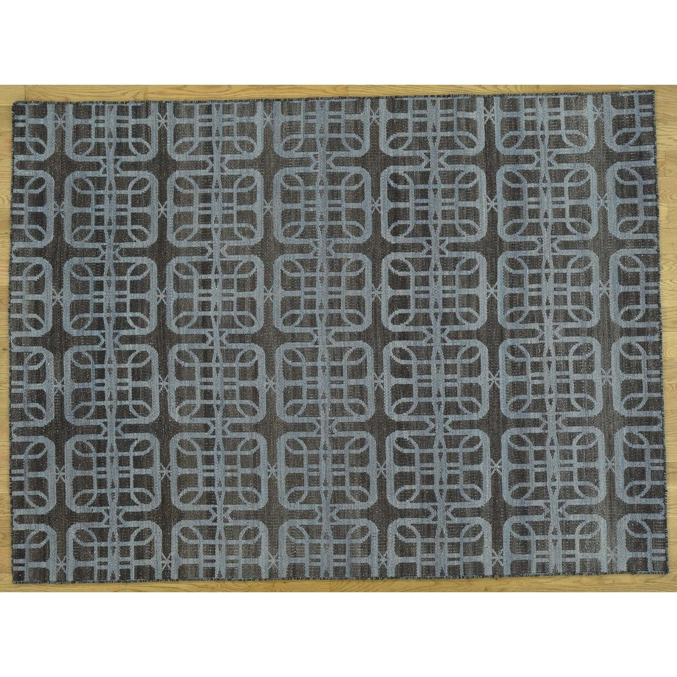Hand Knotted Blue Flat Weave with Wool Oriental Rug - 5 x 610