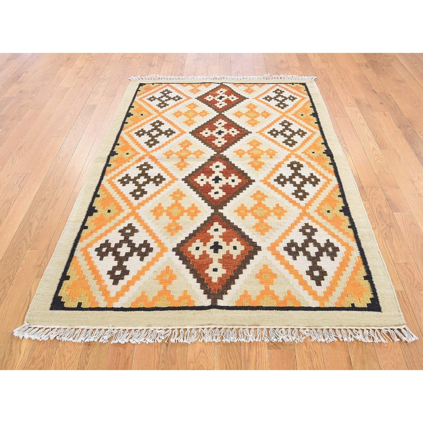 Hand Knotted Orange Flat Weave with Wool Oriental Rug - 41 x 510