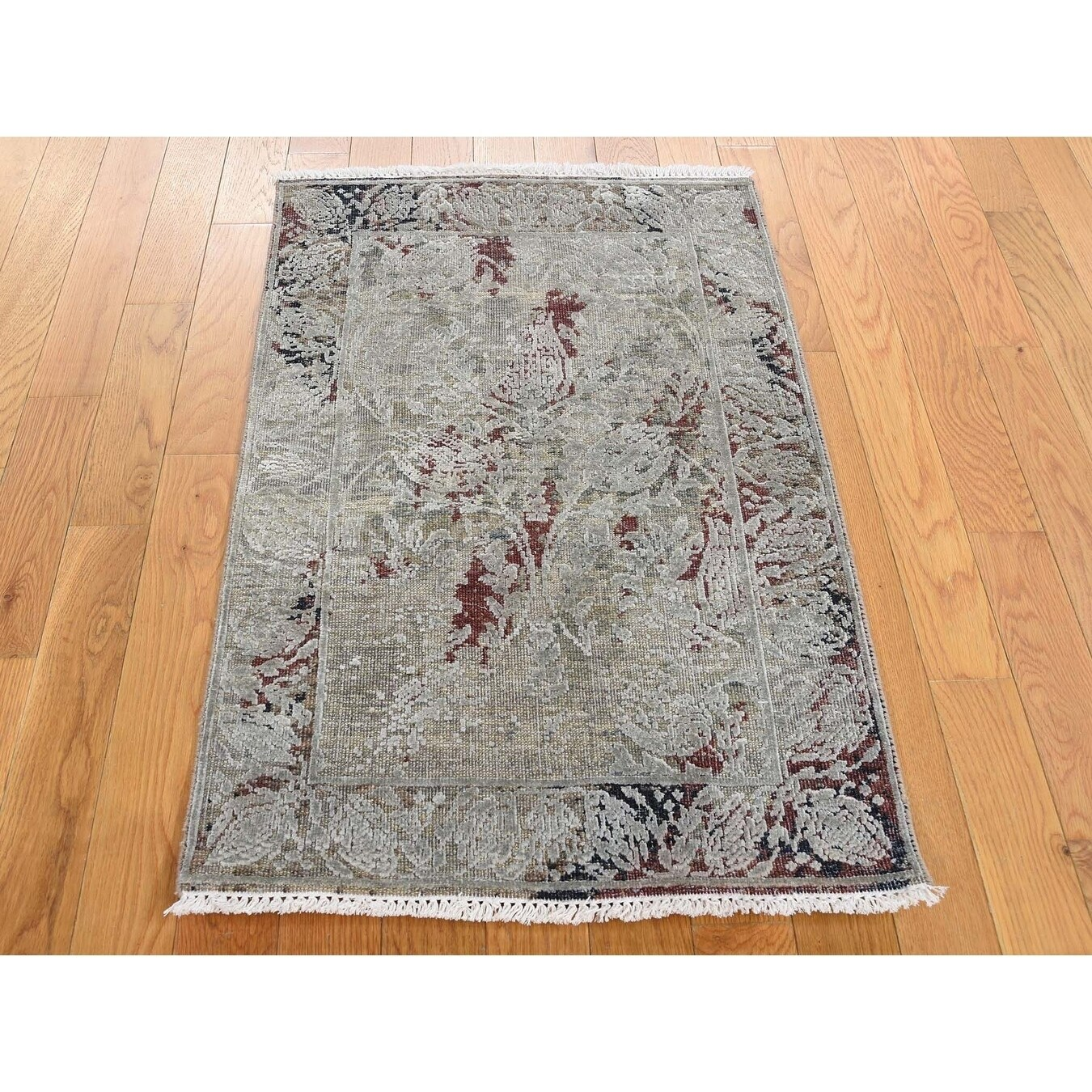 Hand Knotted Brown Modern & Contemporary with Wool & Silk Oriental Rug - 2 x 33
