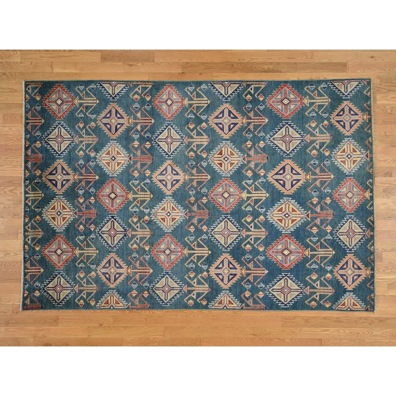 Hand Knotted Green Kazak with Wool Oriental Rug - 6 x 9