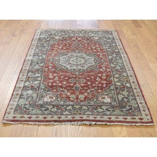 Hand Knotted Red Heriz with Wool Oriental Rug - 3' x 5'