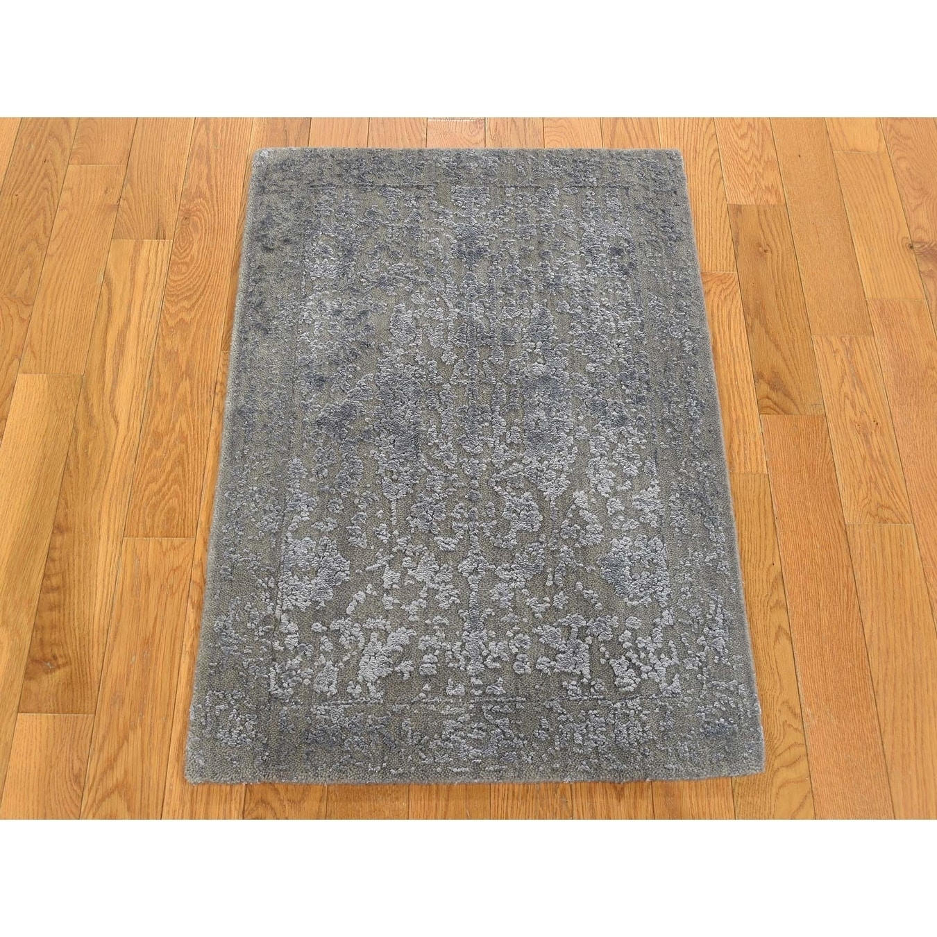 Hand Knotted Grey Hand-Loomed with Wool & Silk Oriental Rug - 2 x 210