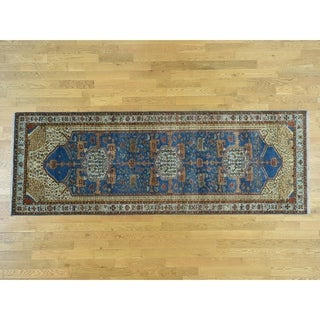 Hand Knotted Blue Heriz with Wool Oriental Rug (4' x 14')
