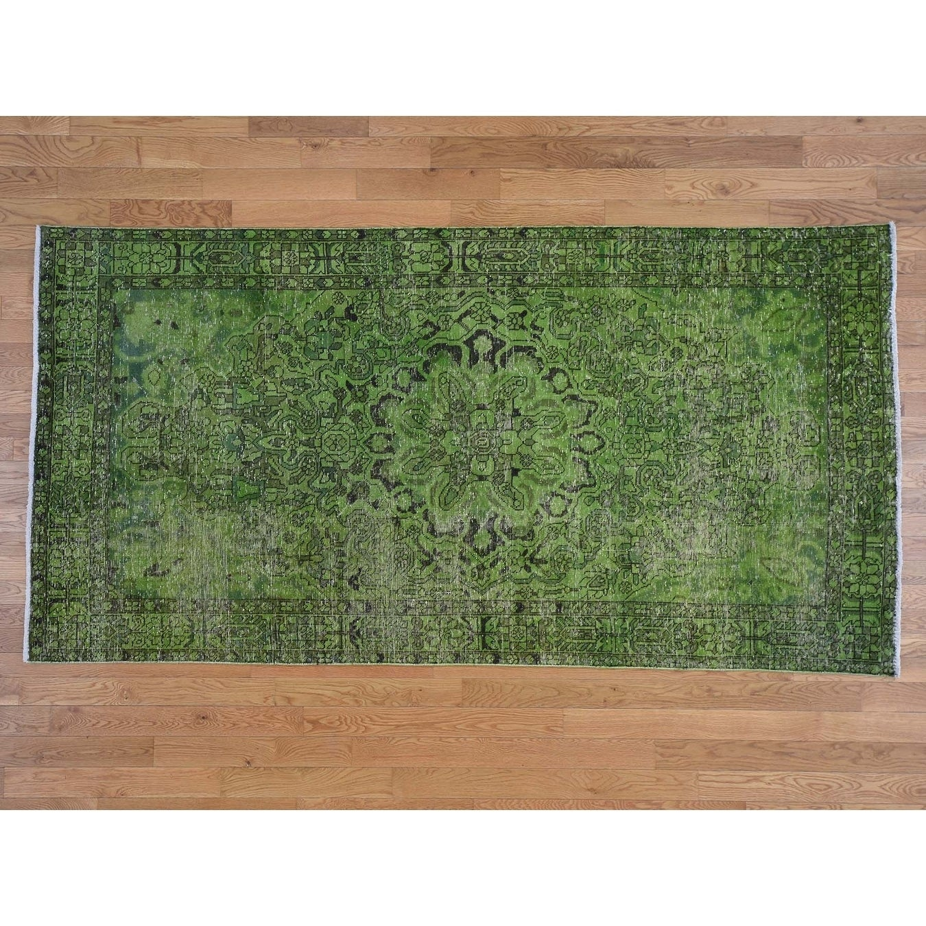 Hand Knotted Green Overdyed & Vintage with Wool Oriental Rug - 52 x 910