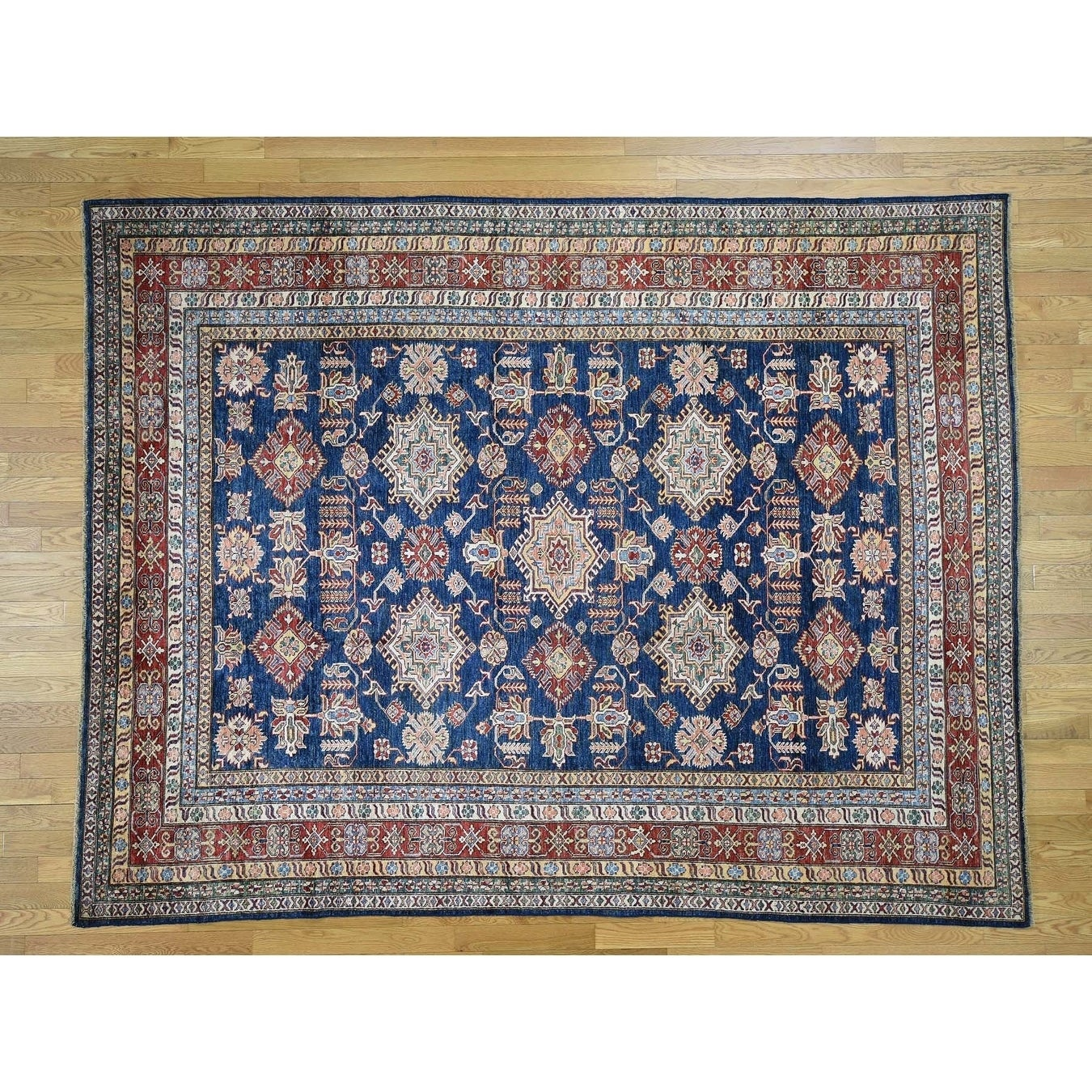 Hand Knotted Blue Kazak with Wool Oriental Rug - 8 x 103