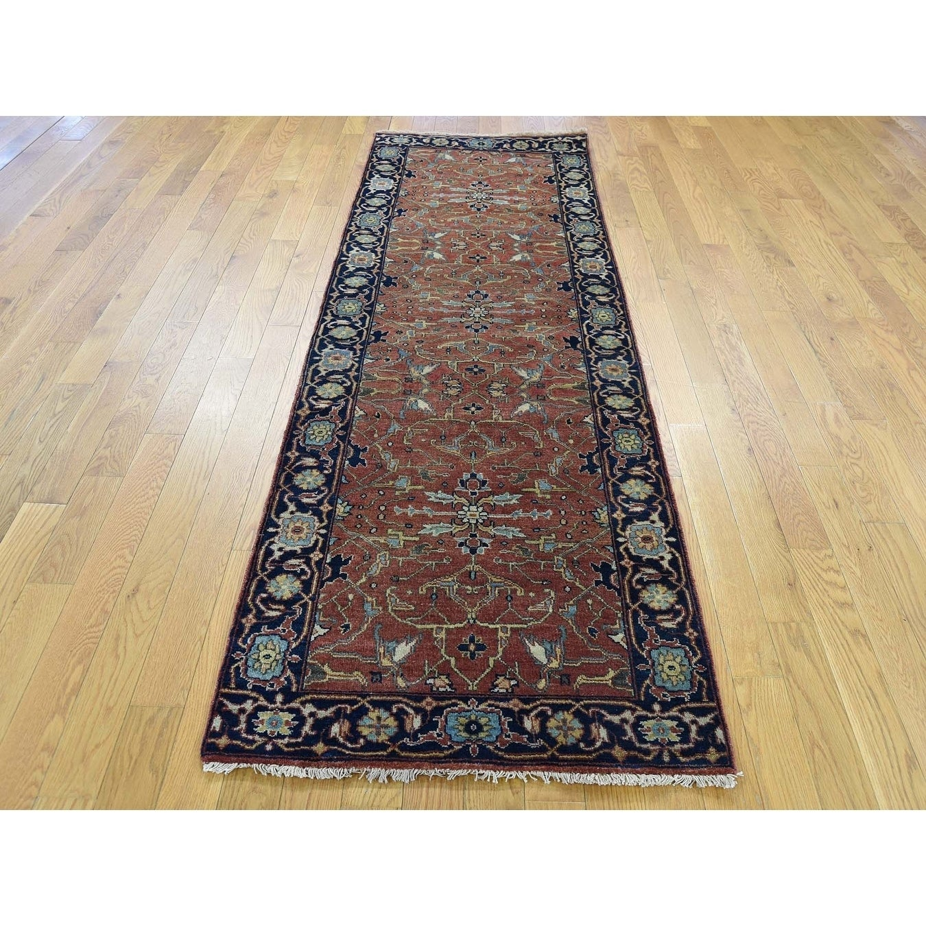 Hand Knotted Red Heriz with Wool Oriental Rug - 27 x 8