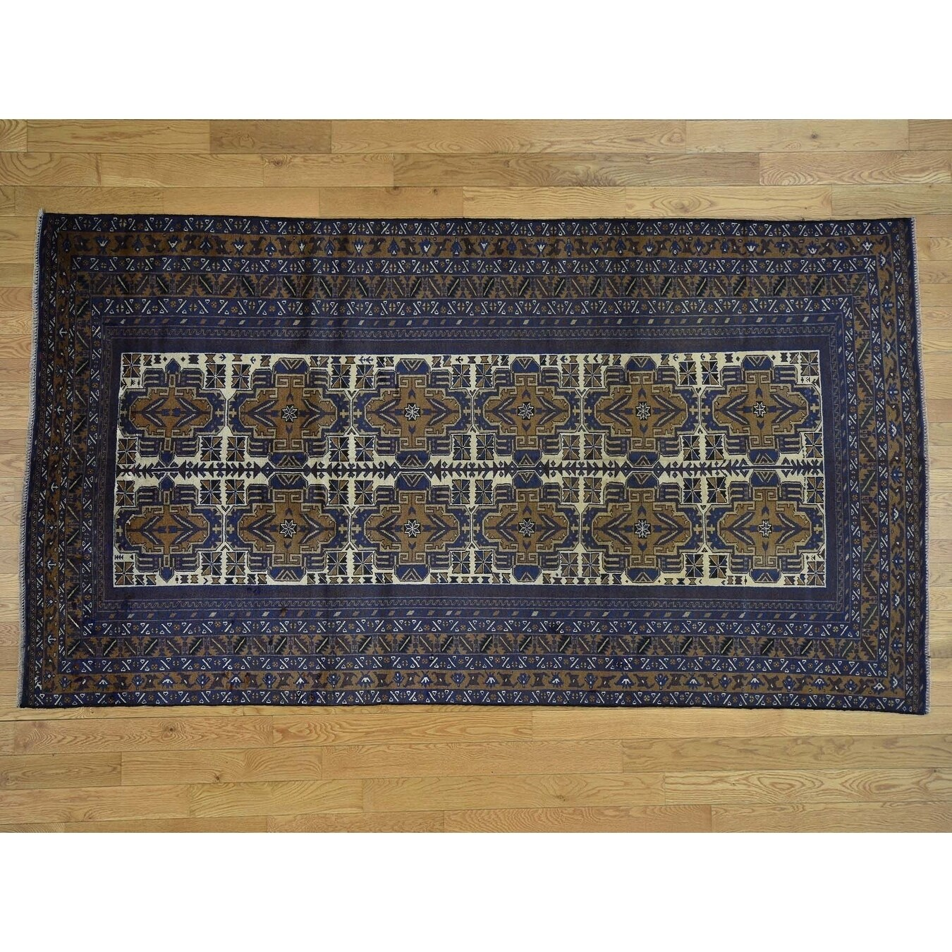Hand Knotted Blue Tribal & Geometric with Wool Oriental Rug - 57 x 102