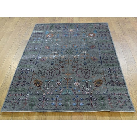 Hand Knotted Grey Arts and Crafts with Wool & Silk Oriental Rug - 5' x 7'1