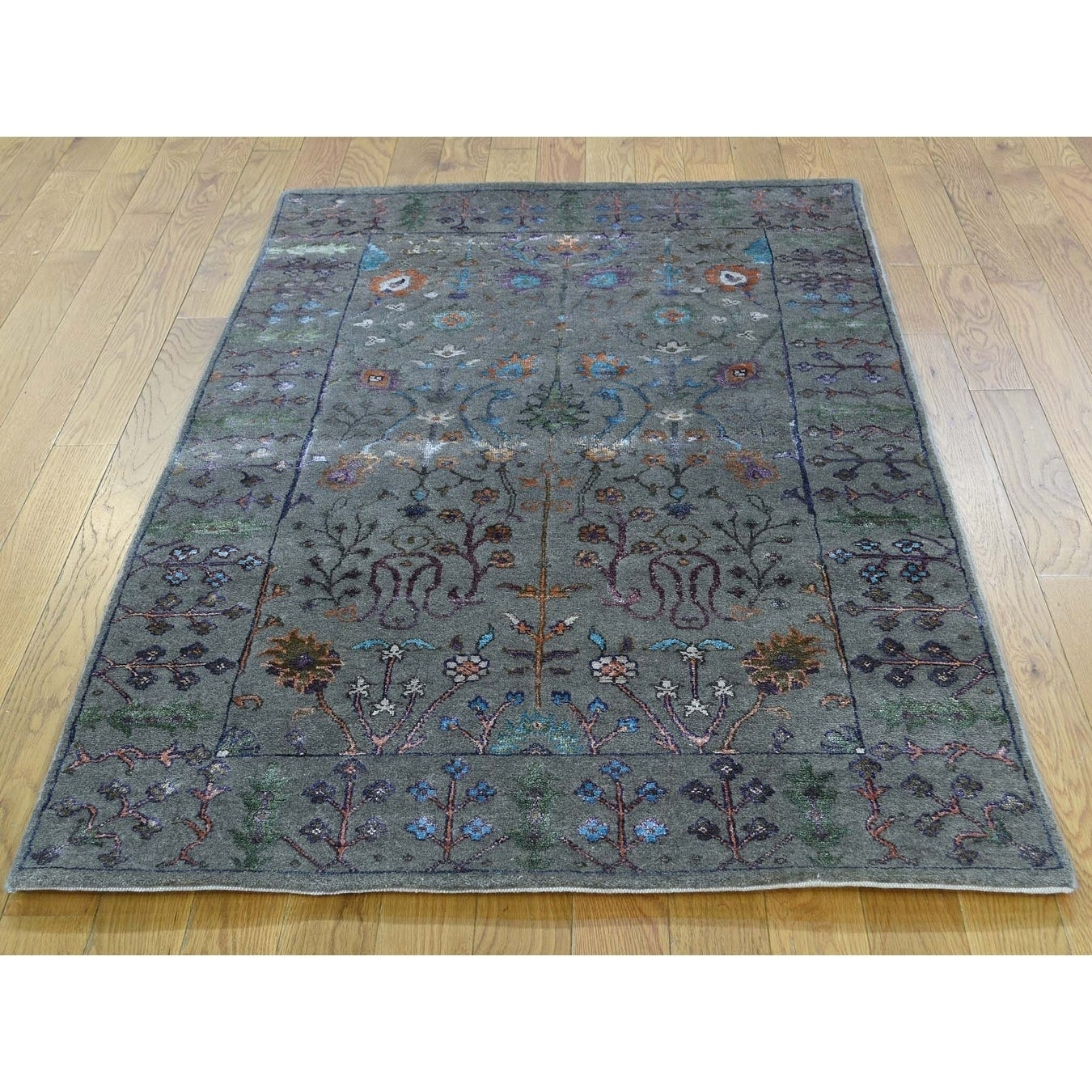 Hand Knotted Grey Arts And Crafts with Wool & Silk Oriental Rug - 5 x 71