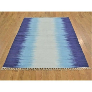 Hand Knotted Blue Flat Weave with Wool Oriental Rug - 4' x 6'