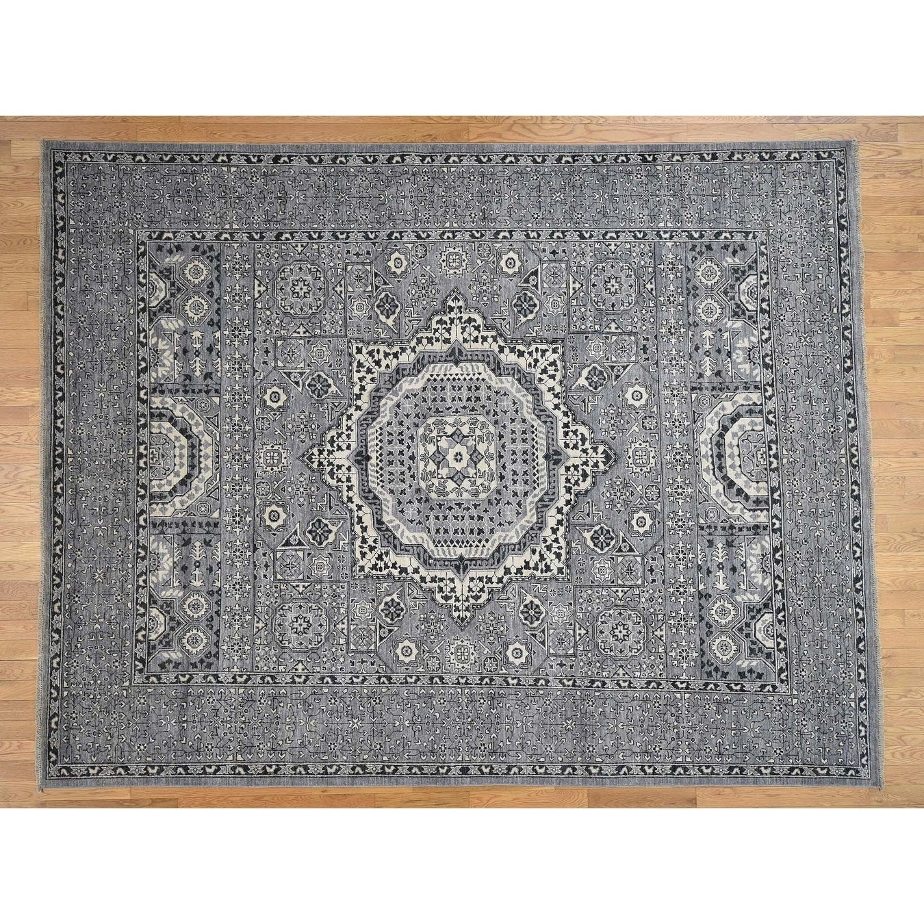 Hand Knotted Grey Mamluk with Wool Oriental Rug