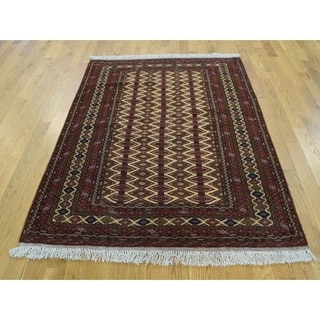 Hand Knotted Beige Tribal & Geometric with Wool Oriental Rug - 4'1 x 5'3