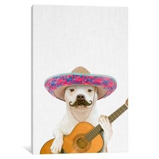 "iCanvas ""Dog Guitarist"" by Tai Prints Canvas Print"