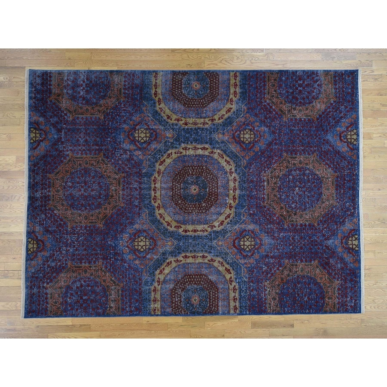 Hand Knotted Blue Mamluk with Wool Oriental Rug - 9 x 12