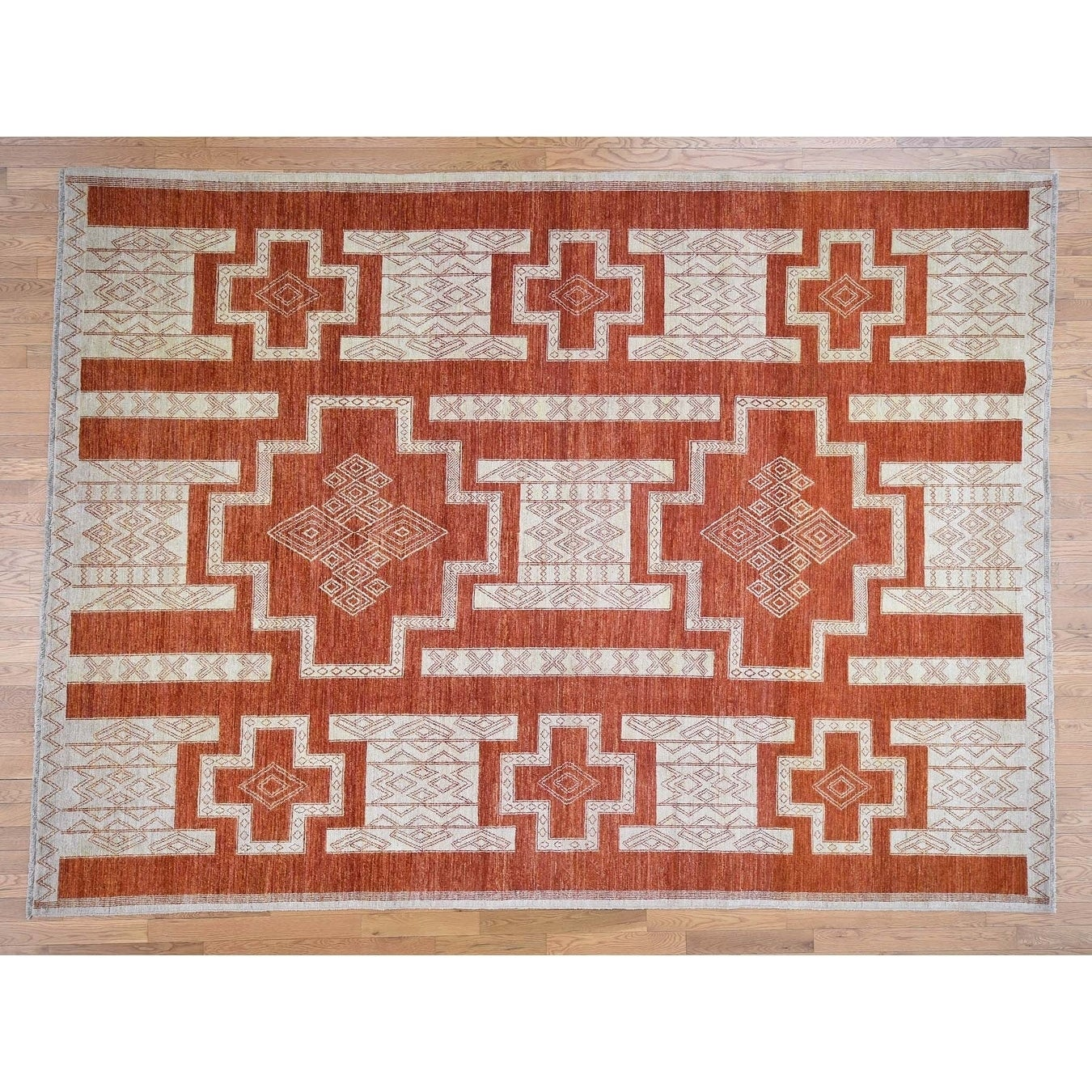Hand Knotted Red Oushak And Peshawar with Wool Oriental Rug - 9 x 122